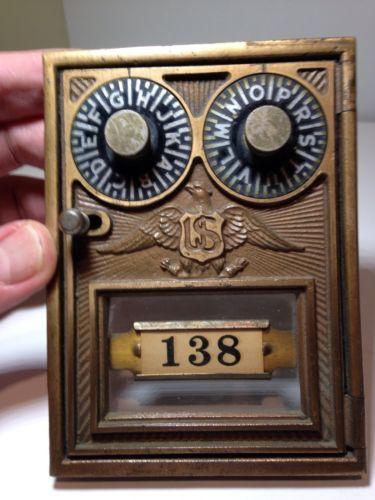 Vintage Corbin Double Dial Us Eagle Post Office Box Door