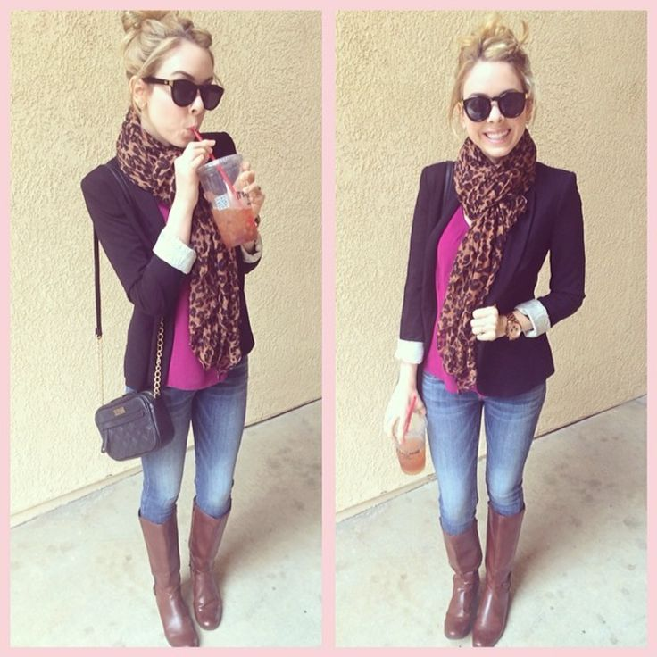 Fushia top, blue denim skinny jeans, brown knee-length boots, black blazer, brown leopard scarf, black quilted crossbody bag and black sunglasses.