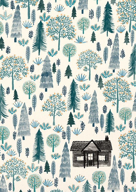 Winter Cabin Illustration. zanna goldhawk