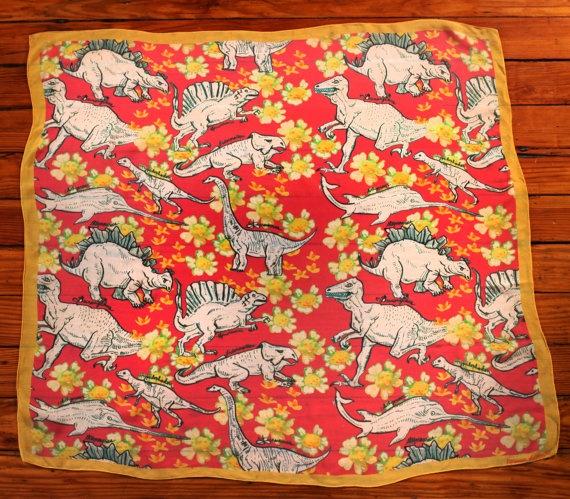 Dinoflowers Silk Scarf. $95.00, via Etsy.