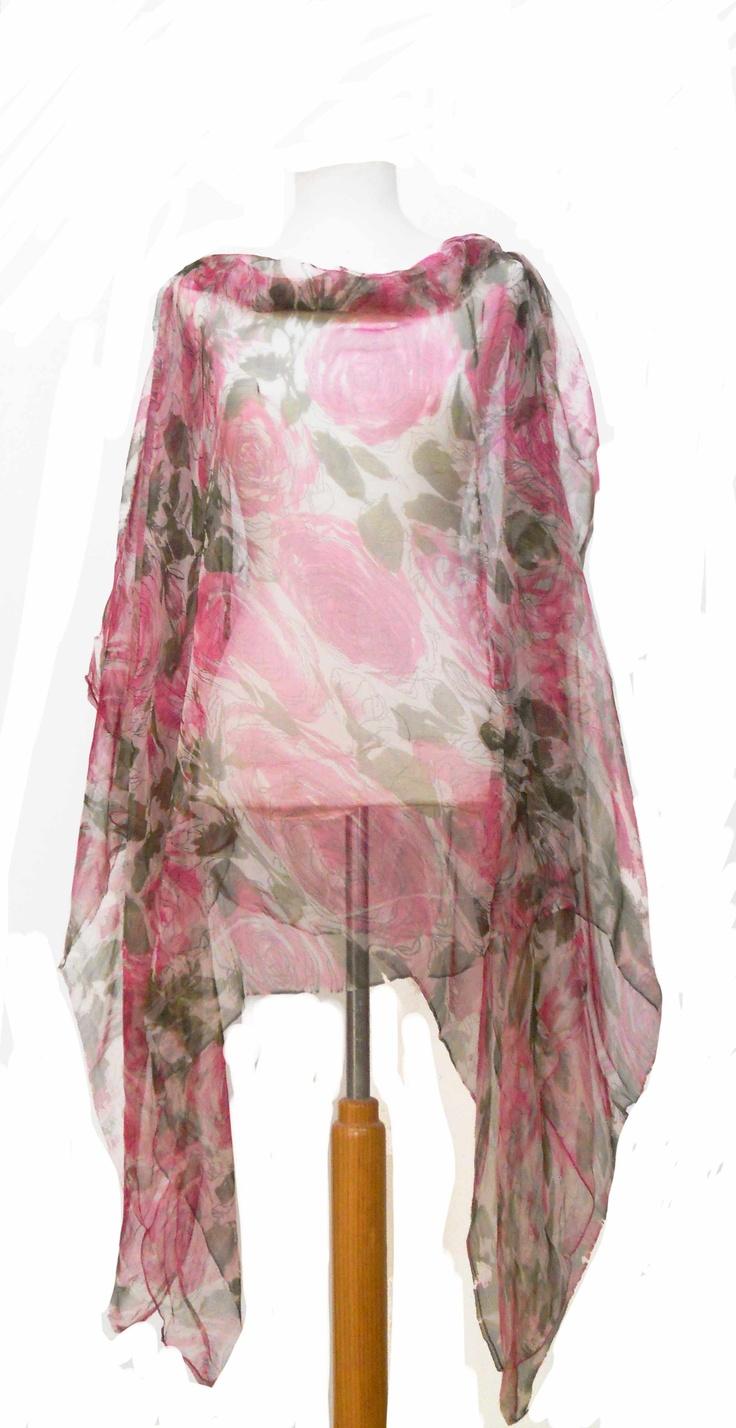 blusón de gasa de seda natural de flores JULUNGGUL by JUlia Munilla. Hecho en España