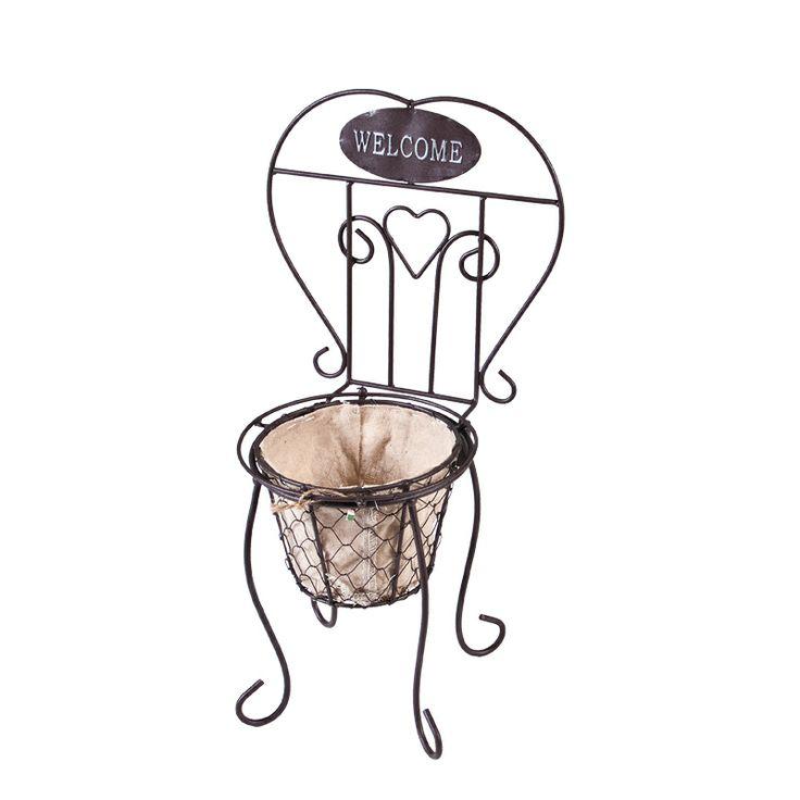 www.sconticasa.it  Porta piante welcome a forma di sedia in ferro
