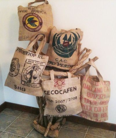 Totes, Coffee Bean Jute bags project, reusable grocery bag