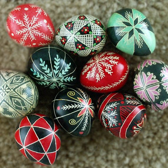 Pysanky Pisanki Ukrainian Polish Easter Egg Purple Fish