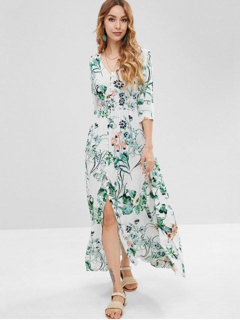 0d3313ab66a Shop for  45% OFF  2018 Floral Smocked Waisted Maxi Dress in WHITE M of Maxi  Dresses and check 10000+ hottest styles at ZAFUL.