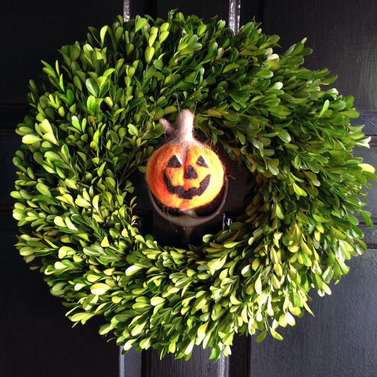 fall halloween wreath boxwood wreath and fabric pumpkin purchased at target fall 2013 - Target Halloween Tree