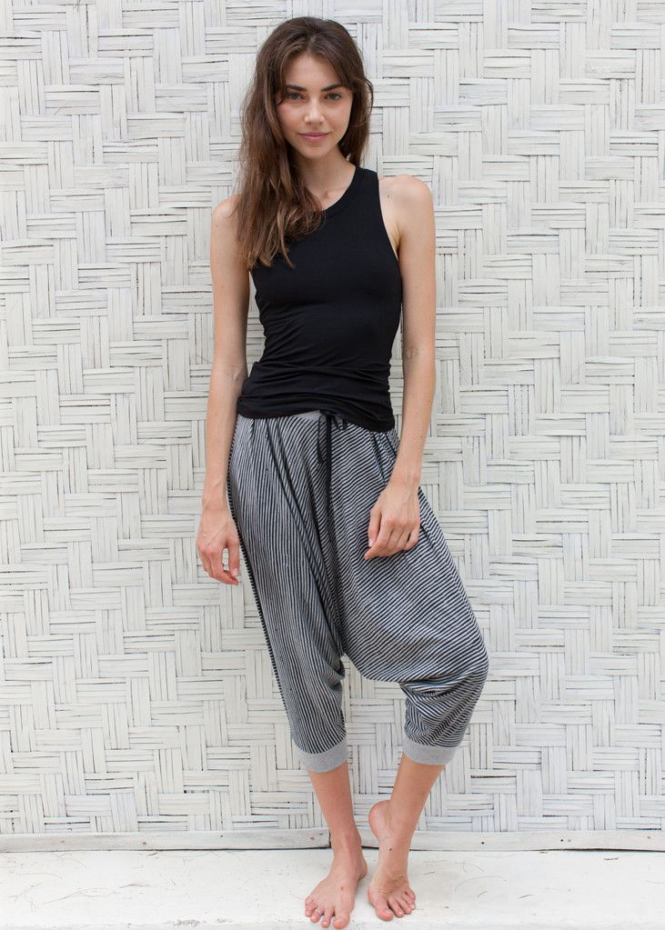Cool Papa Yogis: harem style cotton blend yoga pants. 2016/2017 season print for the classic WE-AR Papa Yogis: Graphite Blue Batik Stripe on Grey Marl. Designed by WE-AR, made in Bali with love Shop online: we-ar.com