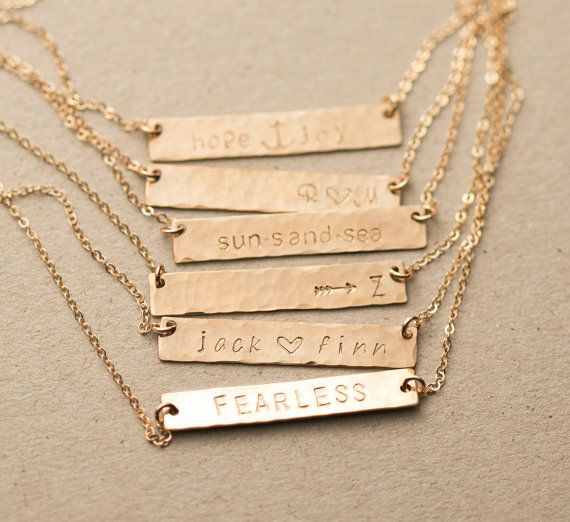 Customized Hammered Name Bar Necklace Personalized Or