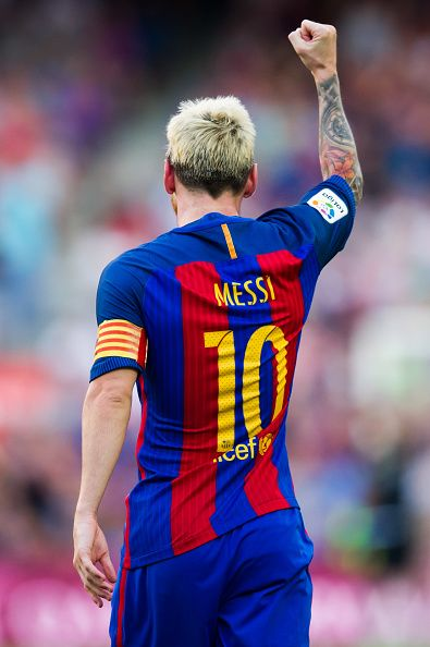 Lionel Messi of FC Barcelona celebrates after scoring his team's fifth goal…