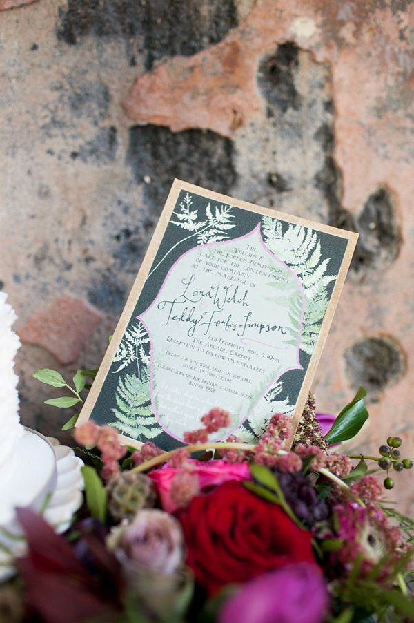 botanical inspired wedding invitations, photo by Ryan Welch Photography http://ruffledblog.com/welsh-floral-wedding-inspiration #weddinginvitations #stationery