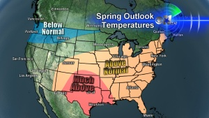 Spring Temperature and Rainfall outlook for North Texas.  It's not good.  Spring Weather Outlook and Current Lake Levels in North Texas « CBS Dallas / Fort Worth