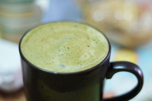 Green Tea Latte: Cup, Green Tea, Juice, Top