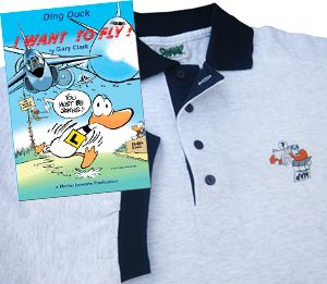 Ding Duck Cartoon Book, 'I Want to Fly' + 'Map' Polo Shirt at the special price of $39.50