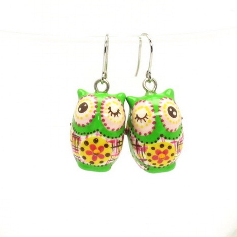 Beloved Owl Jewerly Earrings 00041 Ceramic Accessories Handmade Hand Painted