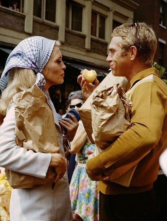 "Faye Dunaway and Steve McQueen on the set of ""The Thomas Crown Affair"" (1968, dir. Norman Jewison)"