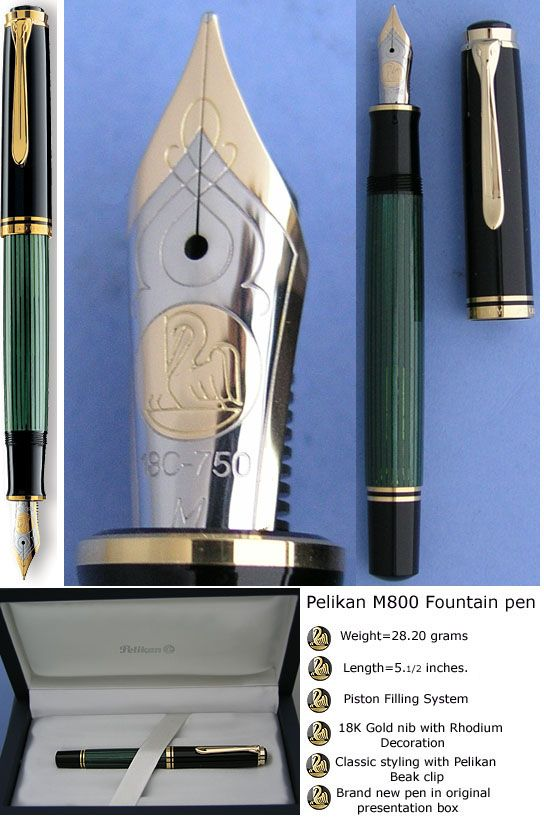 Pelikan M800 Green stripes fountain pen, the best pen.