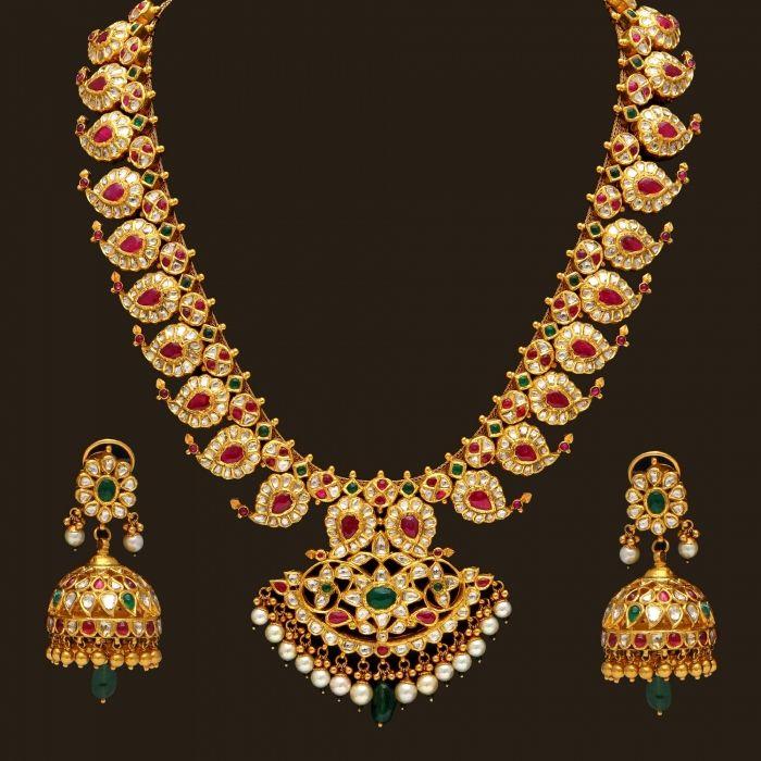 Gold Precious Mango Mala Set (110A12470-108A38147) | Vummidi Bangaru Jewellers