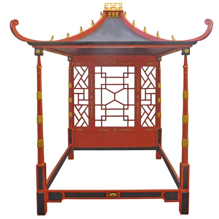 Chinoiserie Pagoda Canopy Bed   From a unique collection of antique and modern beds at https://www.1stdibs.com/furniture/more-furniture-collectibles/beds/
