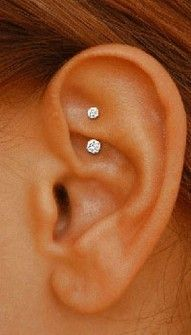 small curved barbell for rook piercing with little crystals #jewelry
