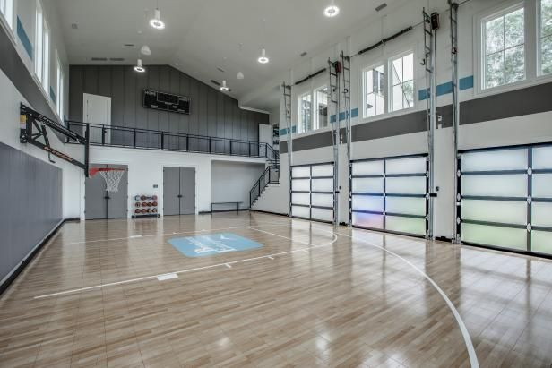Hgtv Com Loves The Indoor Basketball Court In This Party Ready Home In Tennessee Home Basketball Court Indoor Basketball Court Basketball Court Backyard