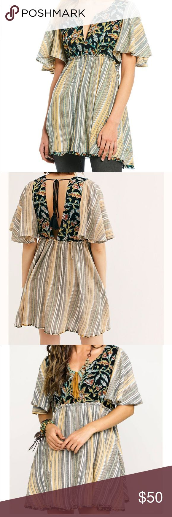 Nwt Under The Sun Tunic Woven striped tunic pieced with a contrast printed bodic…   – My Posh Closet