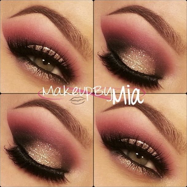 mauvy pinky neutral eye makeup. Maybe a little less glitter for me but I love the color combo!