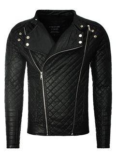 Lederjacke Herren Kunstlederjacke YC Clothing Stehkragen tailliert schwarz P27398