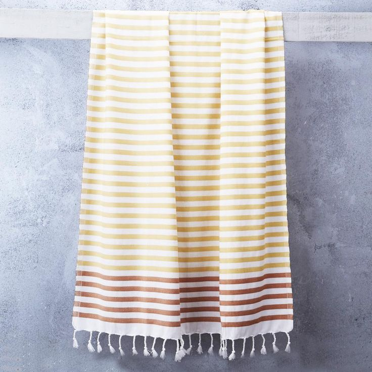 Sheker Towel Candy Stripes in Saffron and Persimmon