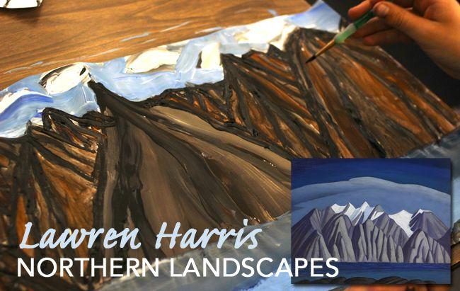 Canadian Painter, Lawren Harris, winter landscape art lesson for kids Lesson here: http://www.deepspacesparkle.com/2013/12/05/ted-harrison-lawren-harris-northern-landscapes/