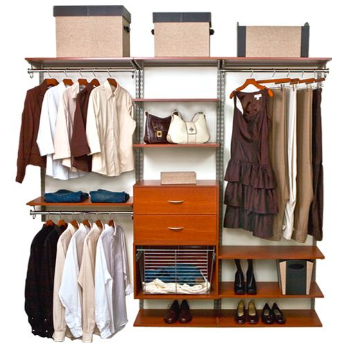 Neatly organize your walk in closet or wardrobe any way you want with the versatile Cherry freedomRail Closet Shelving System.