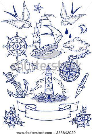 Satz von Vektor-Illustrationen zum Thema Seereisen im Tattoo-Stil. Tätowi …