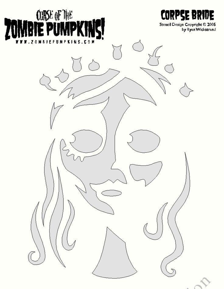 Corpse Bride pumpkin Stencil: