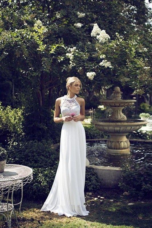 Sleeveless Halter Backless Sweep Train Chiffon Applique Wedding Dress
