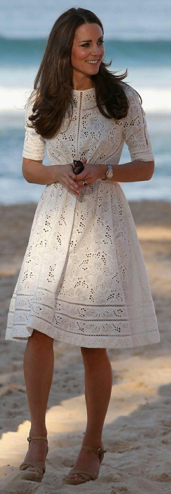 #boho #fashion #spring #outfitideas | Kate Middleton White Chic Boho Dress