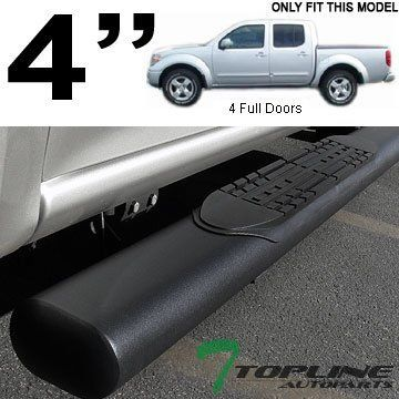 "Topline Autopart 4"" Oval Matte Black Side Step Nerf Bars Rail Running Boards For 05-17 Nissan Frontier ; 09-12 Suzuki Equator Crew Cab. For product info go to:  https://www.caraccessoriesonlinemarket.com/topline-autopart-4-oval-matte-black-side-step-nerf-bars-rail-running-boards-for-05-17-nissan-frontier-09-12-suzuki-equator-crew-cab/"