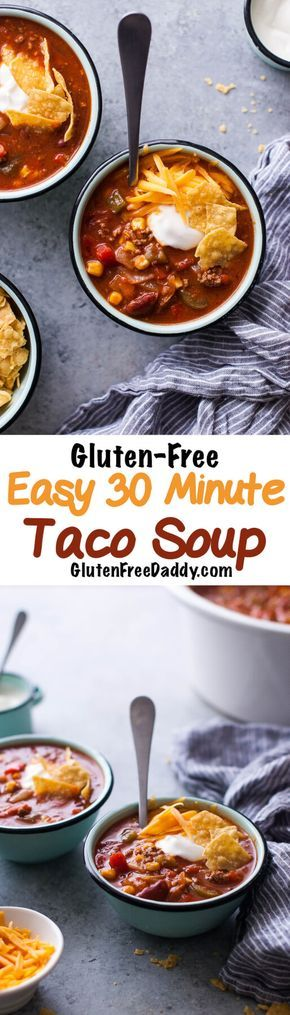 This gluten-free taco soup recipe is so easy and so good. Throw ground beef and some cans of beans, veggies, tomatoes, etc. and seasoning packets in a pot. Let it simmer for a few minutes and I have a healthy meal the whole family loves!