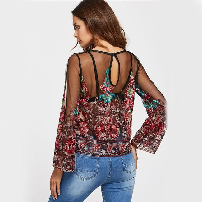 Vintage Sexy Sheer Tops  Women  Back Thin Summer Tops Floral Long Sleeve Tunic