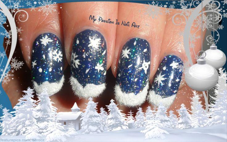Super Simple Snow Christmas nails- tutorial nail art natalizia super sem...