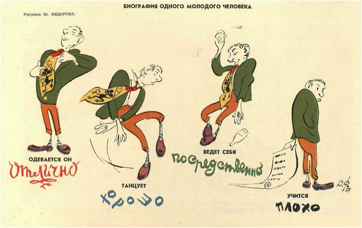 """Jazz Behind the Iron Curtain: anti-western music PR.  The title caption reads: """"Biography of one young man."""" The lower cartoon captions from left to right read: """"He Dresses Superbly, dances well, acts mediocrely, studies poorly.""""   Shvetsov, Sergei. """"Biographia odnovo molodovo cheloveka."""" Krokodil, 1957, issue 3, pp. 8."""