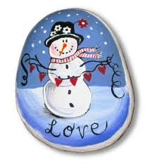 love painted rocks - Snowman ... could be painted on glass ornaments too