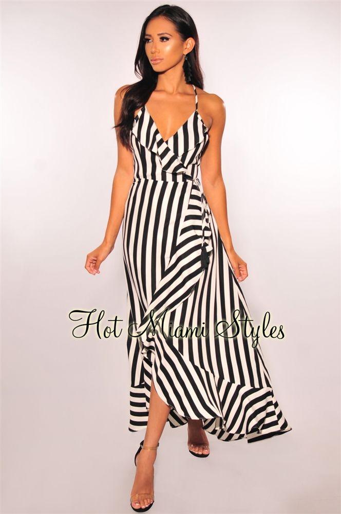 Black White Striped Ruffle Wrap Maxi Dress White Striped Dress Outfit Striped Dress Outfit Summer Striped Dress Outfit