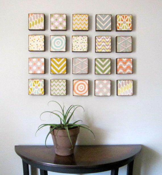 Modern Wall Decor l Art Block 5x5 Twenty 20 Set Choose your Designs chevron circles Geometric redtilestudio wood via Etsy