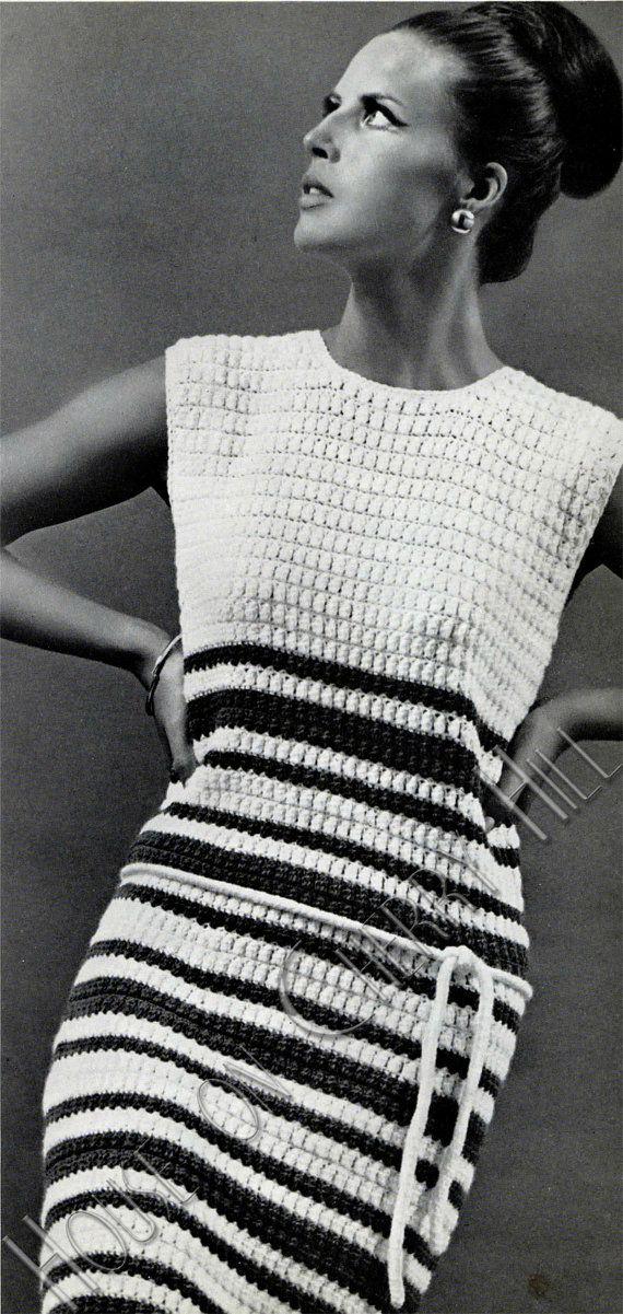 Mod Crochet Dress Crochet Pattern  stripes  by HouseonCherryHill, $3.50