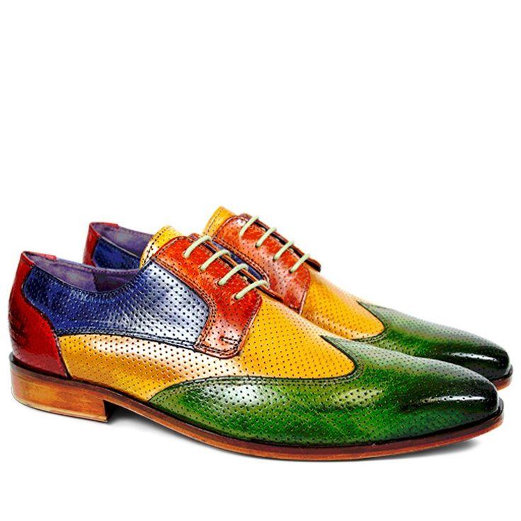 Lance 9 Classic Perfo Summer Green Yellow Orange Cobalt Rouge LS | Derby Schuhe | Herren Schuhe | Melvin & Hamilton
