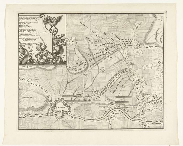 Jan van Call (II)   Plan van het kamp van de Geallieerden voor Maastricht, 1703, Jan van Call (II), Anna Beeck, unknown, 1703   Kaart met het plan van het legerkamp van de Geallieerden onder de Graaf van Ouwerkerk voor Maastricht, 14 mei 1703. Linksboven een cartouche voor de legenda A-H met de Hollandse Leeuw die de Franse Haan met wapens bedreigt.
