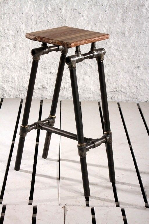 Steampunk industrial upcycled pipe bar stool black ideas for Industrial design bar stools