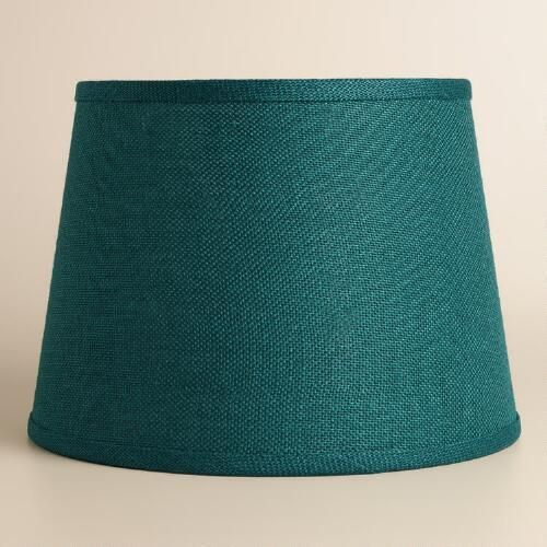 Living room lamps: Teal Burlap Table Lamp  Shade at WorldMarket.com. Also comes in a smaller size that might work in the Master bedroom.