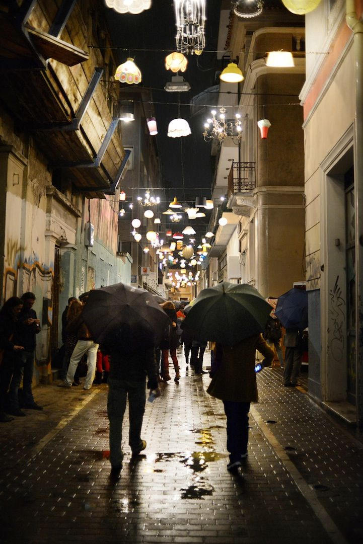 """""""Under a Different Light"""" is a Beforelight project in which residents of Thessaloniki , Greece, donated old, unwanted lamps and lampshades to be recycled into a unique public light art show."""