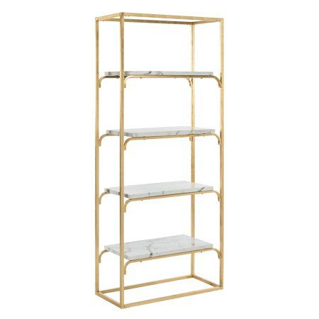 Safavieh Fiora Glam 4 Tier Etagere Gold Grey Walmart Com Home