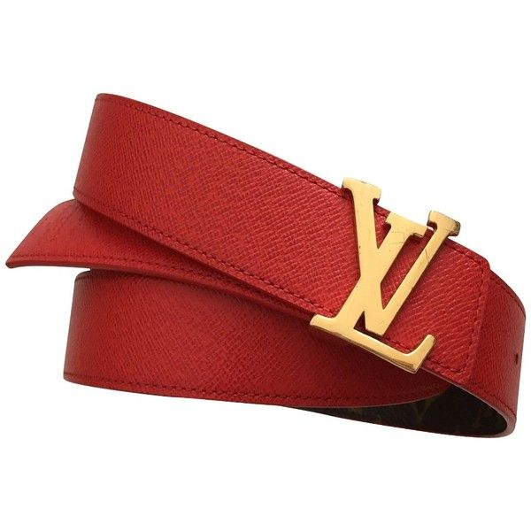 Pre-owned reversible belt from Monogram Canvas / leather ($300) ❤ liked on Polyvore featuring accessories, belts, red, red belt, louis vuitton belt, real leather belts, reversible leather belt and monogram belt